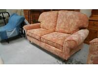 Lovely seater sofa on wooden and brass castors very comphy in vgc can deliver 07808222995