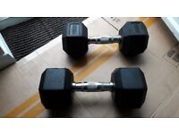 2 x 10KG HEX DUMBBELL WEIGHTS SET