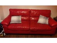 1 year old 3 & 2 piece red leather sofas