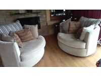 2 Beautiful grey round swing chairs excellent condition with designer cushions removable covers