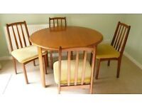 Solid wood extendable dining table inc 4 chairs dismantled for collection