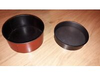 2X CAKE TINS, POP OUT BOTTOM, 21CM DIAMETER, ONE DEEP ONE SHALLOW - FREE TO COLLECTOR