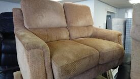 2 x 2 seat sofas settees brown fabric