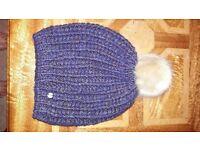 Purple espirit wool hat with blond fur bobble