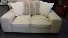 Real Cream LEATHER. 2 Seater Settee Very Good Condition... Local Delivery ... £59...