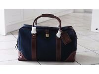 Aspinal Weekender Travel Bag canvas and leather navy Canvas - unused and still in original packaging