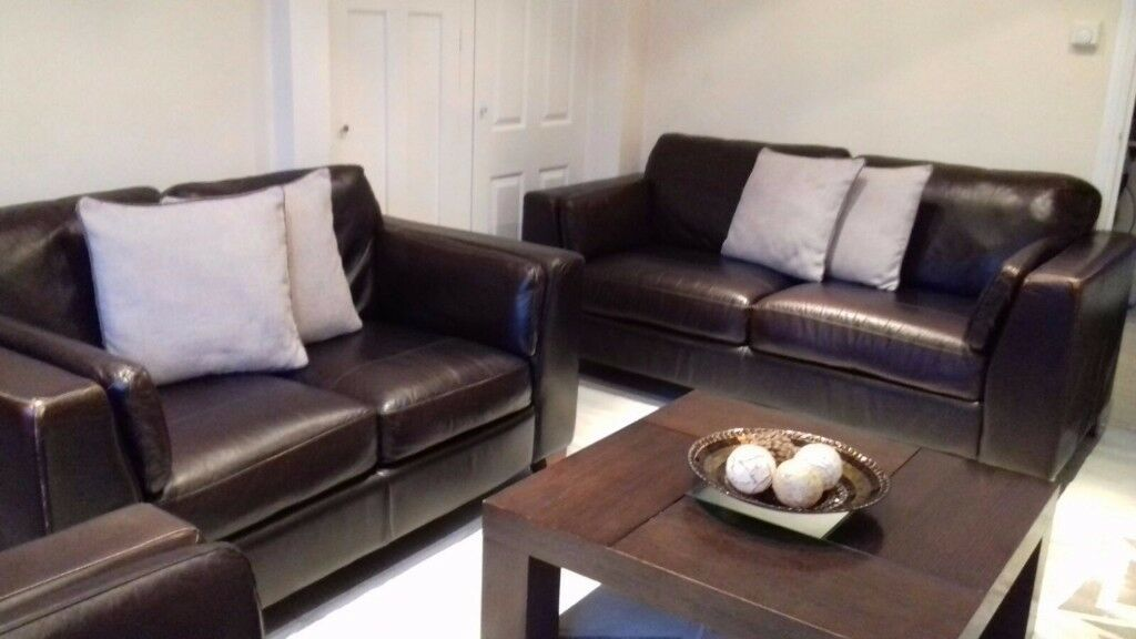 3+2+1 Brown Leather Sofa