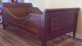 Antique pine sleigh bed - large single takes 3ft 6in mattress