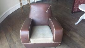 Art Deco Armchair, brown leatherette with cream piping.