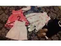 Baby girls dresses 6-9 months & 2 pairs of shoes5