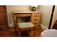 Windsor Solid Pine small desk single pedestal 5 drawers L105cm W50cm H76cm with upholstered stool