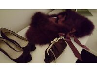 Wedding shoes bag and Chesca feather Maribou shawl.