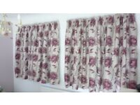 3 pairs of matching floral patterned curtains