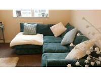 Teal corner sofa