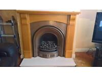 Real Flame Gas Fire with Wood Surround & Marble Hearth