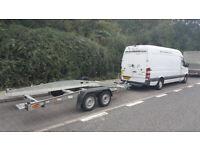 MAN & VAN~ 1 or 2 MEN~ Large panel Van Mercedes Sprinter 3.5t ~ Car transporter trailer 2080 kg