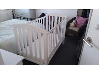 FREE MOTHERCARE COT, WHITE WOOD + MAMAS AND PAPAS DELUXE FOAM MATTRESS. BOTH EXCELLENT CONDITION!