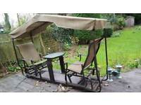 Garden Furniture Swing 2 seater with fixed table