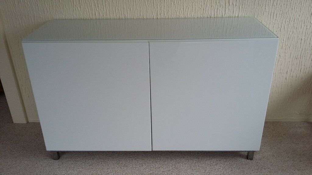 Ikea White High Gloss Sideboard With Silver Legs Gl Top In Bradley Stoke Bristol Gumtree