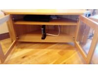 Pine tv unit with shelves