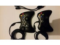 XBox 360 Wired Controllers Game Pads x 2