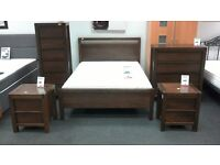 Bedside cabinet with 2 drawers in dark wood - British Heart Foundation