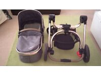mothercare orb pram - excellent condition, 1 year old, 2 way facing, includes raincover, cosy toes