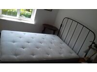 Black metal Double bed frame and mattress