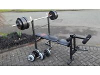 FOLDAWAY PRO POWER WEIGHTS BENCH & 50KG & BARS