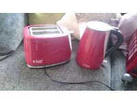 Red russsel hobbs kettle and toaster