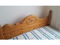 solid pine double bed frame,