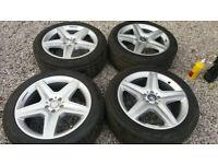 "Genuine Mercedes ML GLE AMG 20"" 5x112 Alloy Wheels + 7mm pirellis A1664012002 Vito"