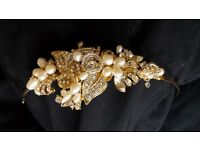 Freshwater pearl gold wrap headband