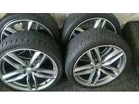 "**** AUDI TWIN SPOKE ALLOY WHEELS 19"" 255/35/19 **** RS4 RS6 S8 RS7 A4 A6 A8 A5 S6 S4 ***"
