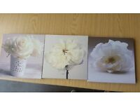 4 set of lovely canvas pictures (3 small, 1 large)
