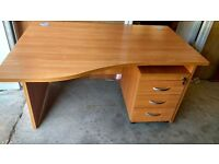 """3 X WAVE DESIGN OFFICE DESKS AND PEDESTALS, TOP QUALITY 1"""" THICK WOOD,"""