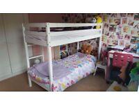 Children's White Wooden Bunk Bed includes Mattresses