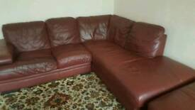For sale well used 2 maroon leather left and right corner sofas 200 each or both 300
