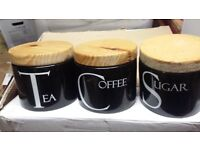 Black Pottery with Wooden Lids Tea,Coffee and Sugar Containers