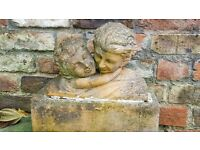 CHERUBS ON A PLINTH. DELIGHTFUL GARDEN ORNAMENT. BARGAIN!