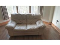 Cream Leather Suite Settees Sofa - double & armchair
