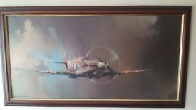 Oil painted ww2 spitfire by barrie a.f clark