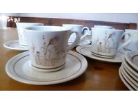 Retro Royal Doulton Lambethware Thistledown Set 6 Cups, Saucers, Side Plates