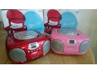 Portable radio. Mains or battery. 2 red and 1 pink available.