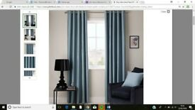 John Lewis extra wide Faux Silk Blackout Lined Eyelet Curtains in Duck Egg