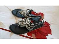 Black beaded bejewelled sandal