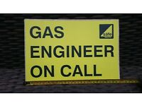 "GASSAFE. """"GAS ENGINEER ON CALL"""" 12"" ID for Dashboard"