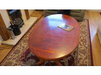 Reproduction mahogany oval coffe table