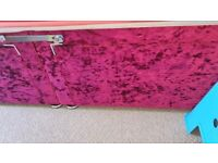 Double Divan Fushia pink crushed velvet
