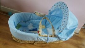 Blue kite Moses basket
